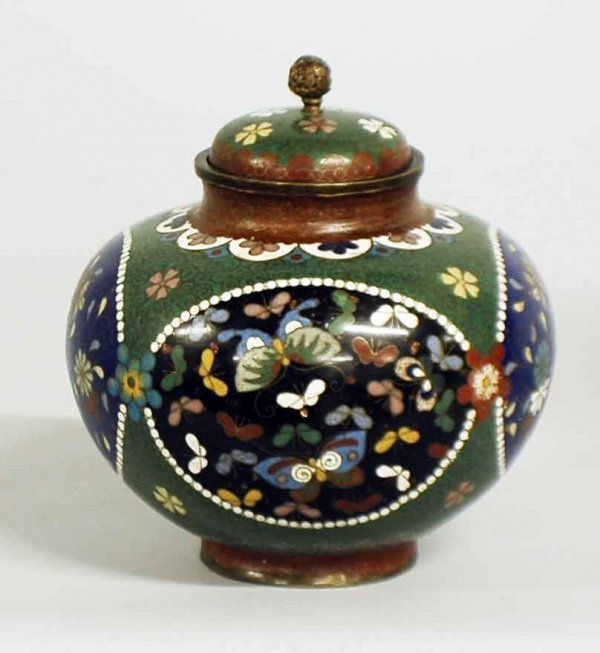 1021: CLOISONNE ENAMEL JAR AND COVER