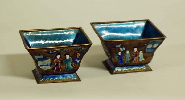 1023: PAIR OF ENAMEL ON METAL BOWLS