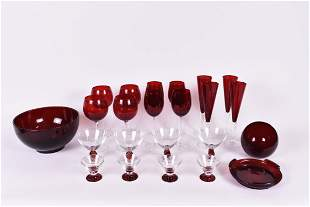 EXTENSIVE GRP OF RUBY GLASS STEMWARE & TABLE ITEMS