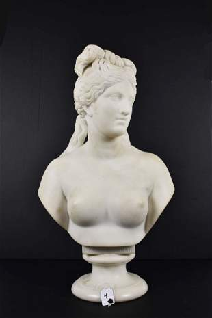 CONTINENTAL CARRARA MARBLE BUST OF A NUDE LADY