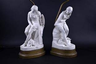 PAIR OF ENGLISH PARIAN WARE FIGURAL TABLE LAMPS