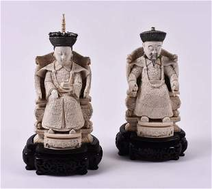 CHINESE CARVED EMPEROR AND EMPRESS