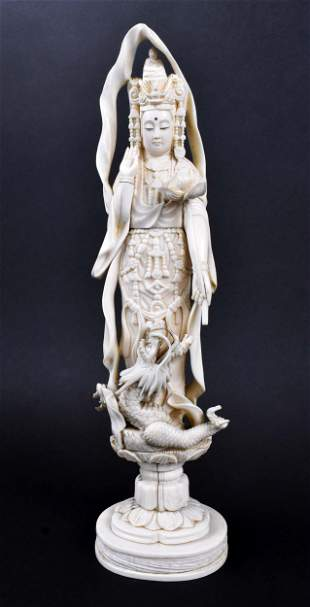 CHINESE CARVED FIGURE OF THE GODDESS KANON