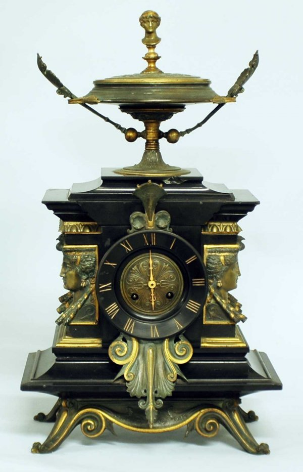 24: THIRD EMPIRE BLACK MARBLE MANTLE CLOCK