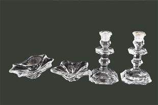 FOUR BACCARAT COLORLESS GLASS TABLE ITEMS