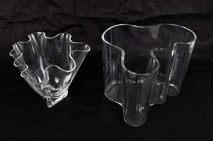 ALVAR ALTO COLORLESS GLASS VASE AND ANOTHER