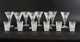 SIXTEEN ENGLISH CUT-GLASS DRINKS GLASSES