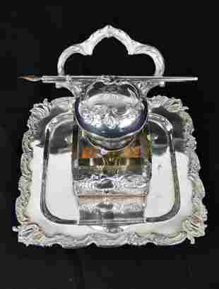 ROCOCO REVIVAL SILVER  & GLASS INK STANDISH
