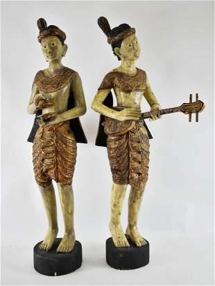 PAIR OF PAINTED, PARCEL GILT WOOD BURMESE MUSICIANS