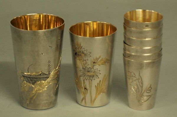 8: ASSEMBLED SET OF EIGHT SILVER VODKA CUPS
