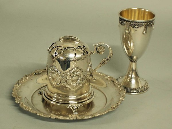 14: GROUP OF 3 JUDAICA SILVER TABLE ARTICLES