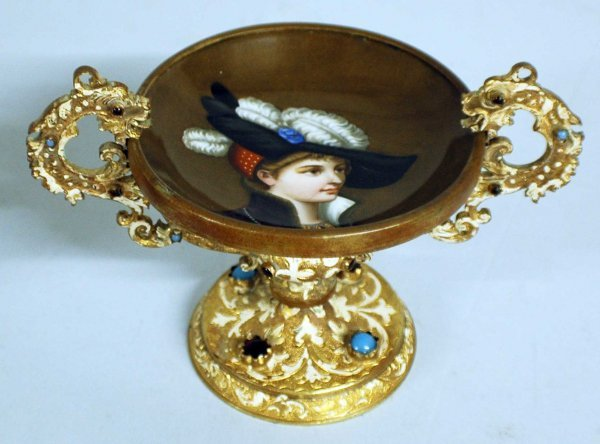 15: GILT METAL AND PORCELAIN CANDY DISH