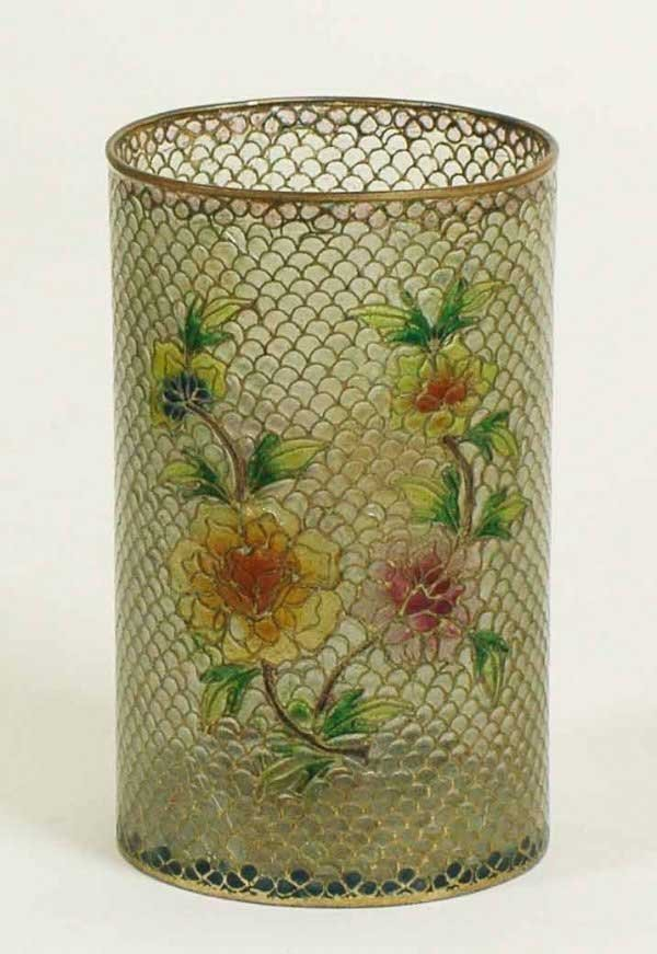 18: PLIQUE DU JOUR CLOISONNE ENAMEL BRUSH POT