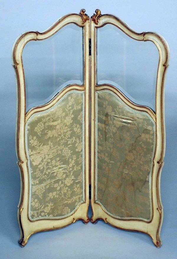 22: LOUIS XV STYLE PAINTED MIN. TWO PANEL SCREEN