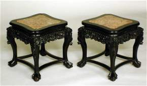 124 PAIR OF CARVED HARDWOOD TABOURETS