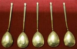 184: SET OF SIX RUSSIAN SILVER TEA SPOONS