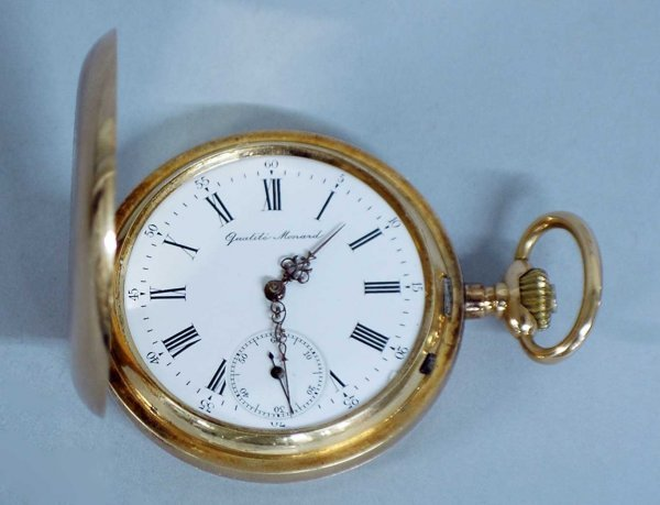 263: 14K YELLOW GOLD CASED POCKET WATCH