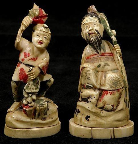 1: Two Japanese Ivory Okimono