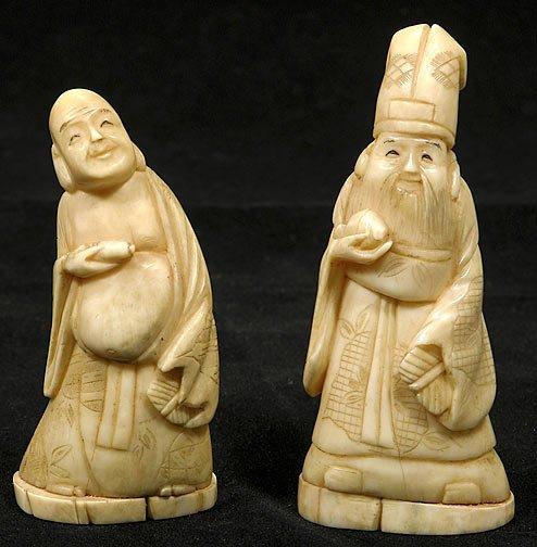 2: Two Japanese Ivory Okimono