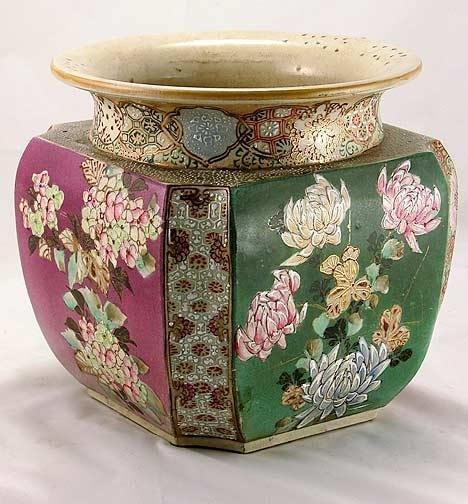 12: Antique Hand Painted Oriental Jardinière