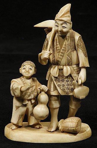 14: Japanese Ivory Okimono Farmer and Boy