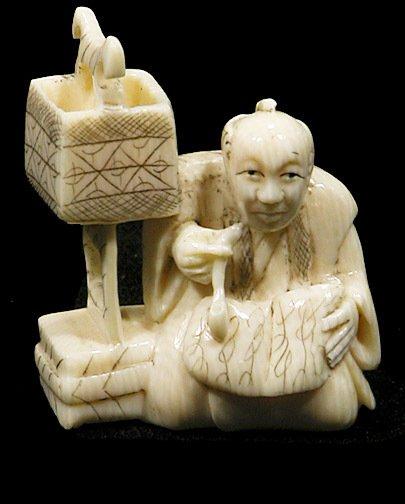 17: Netsuke Elephant Ivory Signed Man With a Pipe