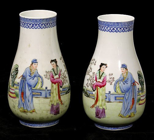 20: Pair Chinese Vases with Chi'en Lung Mark