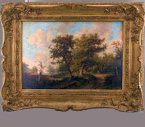 229: English Figures Resting Bucolic Landscape O/C