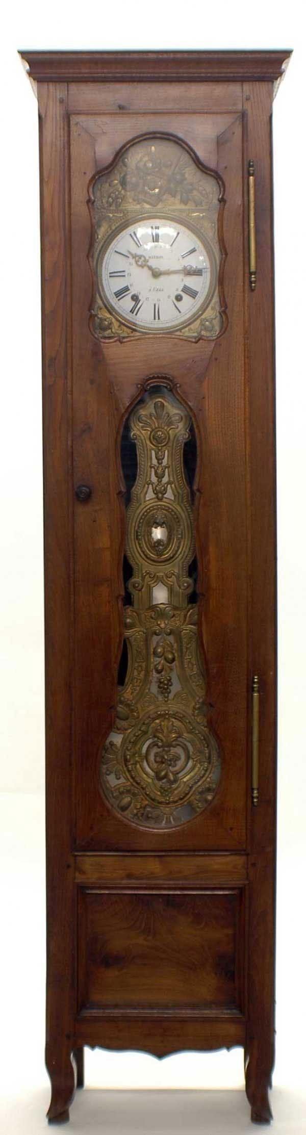 1021: LOUIS XV PROVINCIAL WALNUT TALL CASE CLOCK