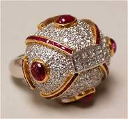 1124 PLATINUM 18K GOLD RUBY AND DIAMOND RING