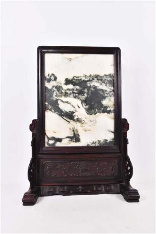 CHINESE MARBLE DREAM STONE ON STAND