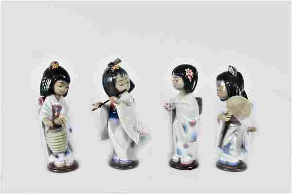 FOUR LLADRO PORCELAIN FIGURES OF JAPANESE GIRLS