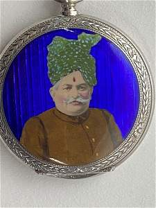 ANGLO-INDIAN ENAMEL DECORATED SILVER POCKET WATCH