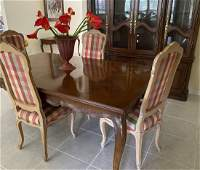 HENREDON PARQUETRY DINING TABLE & SET OF 6 CHAIRS