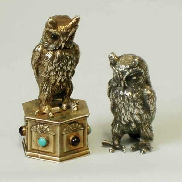 6: TWO STERLING SILVER OWLS