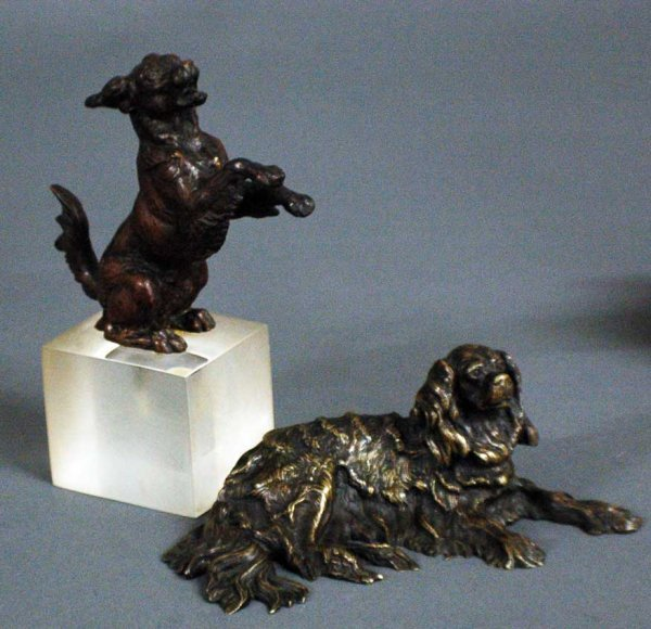 14: TWO PATINATED BRONZE FIGURES OF DOGS