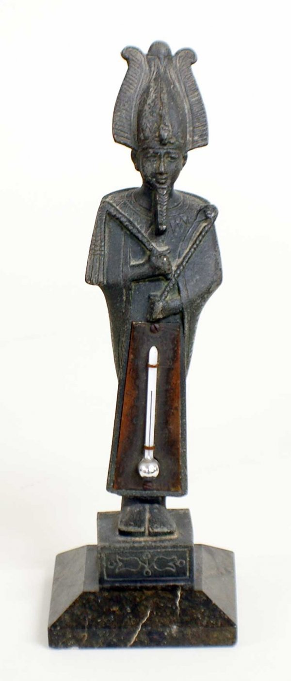 1011: PATINATED METAL FIGURAL THERMOMETER