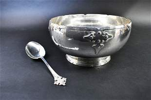 AMERICAN ARTS & CRAFTS STERLING SILVER BOWL & SPOON