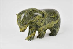 LARGE INUIT CARVED GREEN MARBLE POLAR BEAR