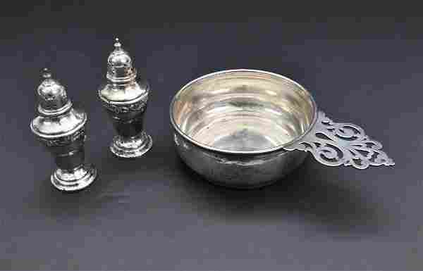 STERLING PORRINGER & PAIR OF SILVER PLATED SHAKERS