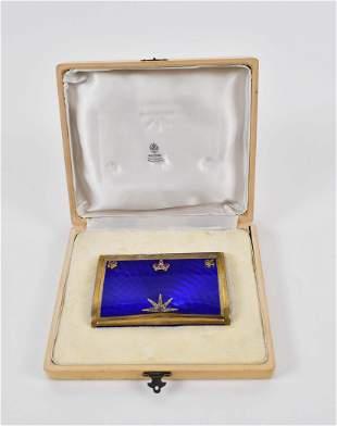 RUSSIAN DIAMOND MTD. BLUE ENAMEL SILVER CIGARETTE CASE