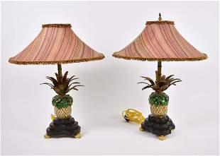 PAIR OF ENAMELED METAL PINEAPPLE-FORM LAMPS