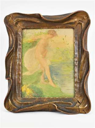 WATERCOLOR ON PAPER IN AN ART NOUVEAU FRAME