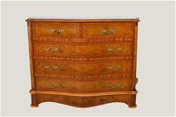 CONTINENTAL VARIOUS WOODS PARQUETRY WALNUT COMMODE