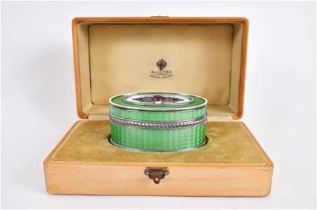RUSSIAN DIAMOND MOUNTED ENAMEL SILVER GILT OVAL BOX