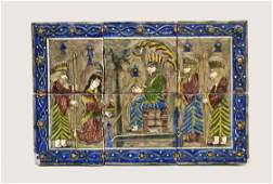 PERSIAN PAINTED SIXTILE SCENIC RELIEF PANEL