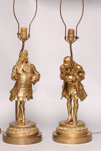 8: Pair French 19th Century Spelter Lamps