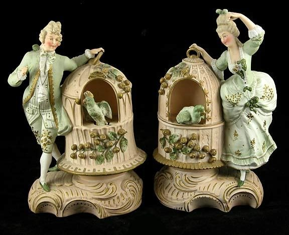 10: Pair Antique Bisque Figural Nodders as is