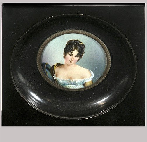 19: Miniature Old French Portrait Signed Campi