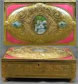 254 Metal and Enamel Jeweled Box w Mini Ivories
